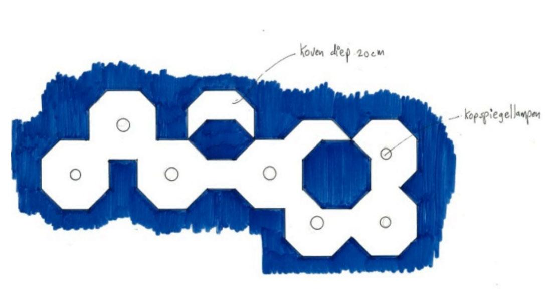 Ontwerp van het uit achthoeken bestaande plafond